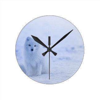 Iceland Arctic Fox Round Clock