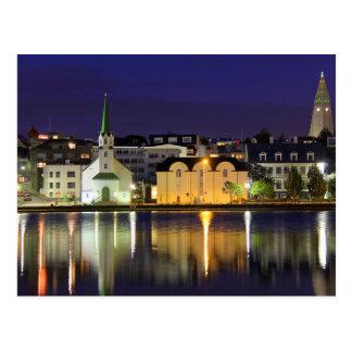 Iceland - August Midnight in Downtown Reykjavik Postcard