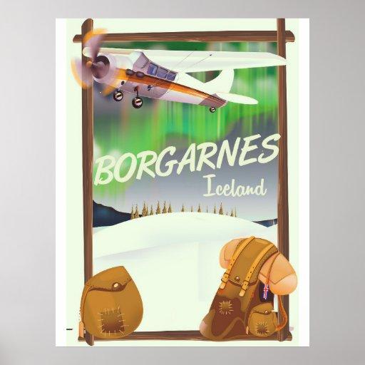 Iceland Borgarnes Flight poster