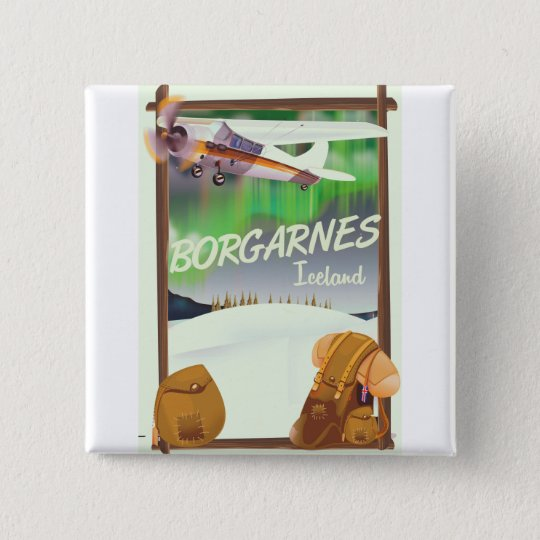 Iceland Borgarnes Flight poster 2 Inch Square Button