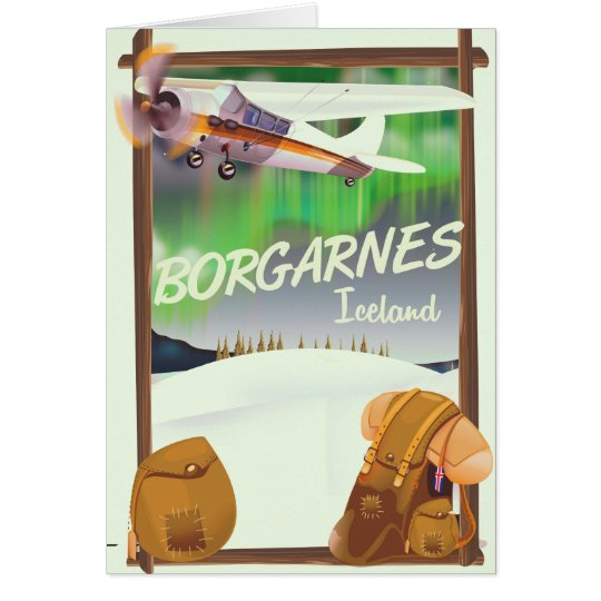 Iceland Borgarnes Flight poster Card