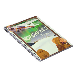 Iceland Borgarnes Flight poster Notebook