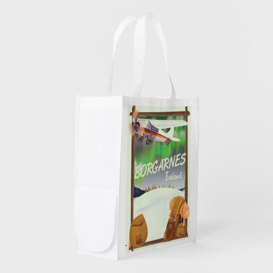 Iceland Borgarnes Flight poster Reusable Grocery Bag