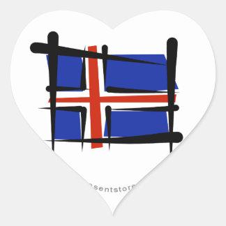 Iceland Brush Flag Heart Sticker