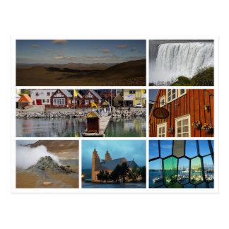 Iceland collage waterfall highlands reykjavik postcard