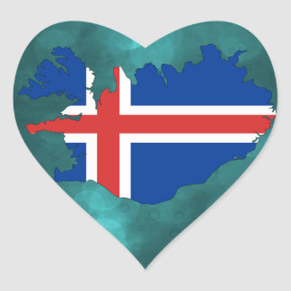 Iceland country flag heart sticker