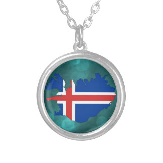 Iceland country flag silver plated necklace