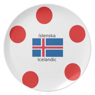 Iceland Flag And Icelandic Language Design Plate