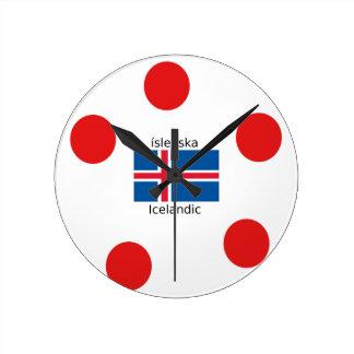 Iceland Flag And Icelandic Language Design Round Clock