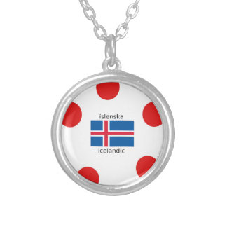 Iceland Flag And Icelandic Language Design Silver Plated Necklace