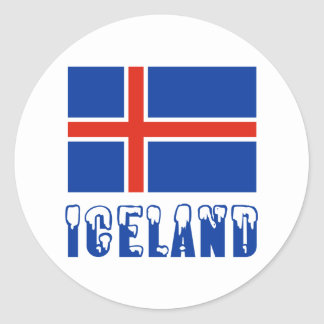 Iceland Flag and Name Snow Classic Round Sticker