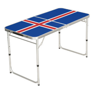 Iceland Flag Beer Pong Table