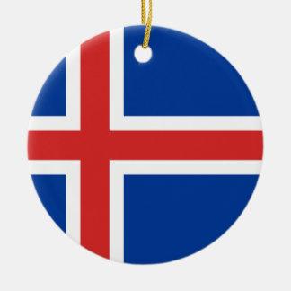 Iceland Flag Ceramic Ornament