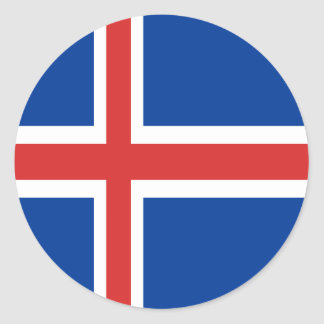 Iceland flag design on products classic round sticker
