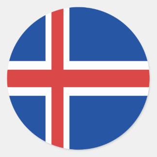 Iceland flag design on products round sticker