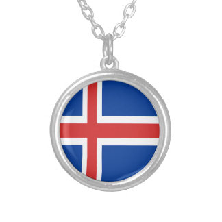Iceland flag design on products silver plated necklace
