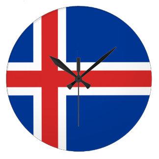 Iceland Flag Large Clock