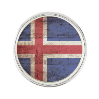 Iceland Flag on Old Wood Grain Lapel Pin