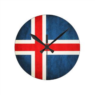 Iceland flag round clock