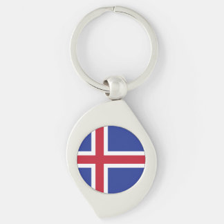 Iceland Flag Silver-Colored Swirl Keychain