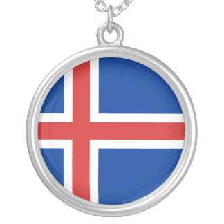 Iceland Flag Silver Plated Necklace