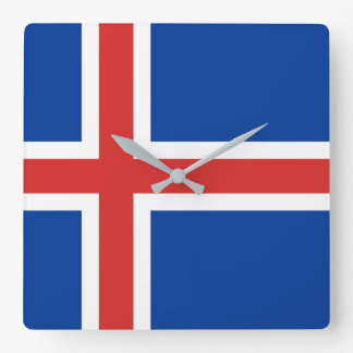 Iceland Flag Square Wall Clock