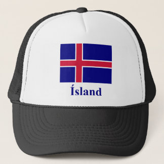 Iceland Flag with Name in Icelandic Trucker Hat