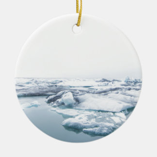 Iceland Glaciers - White Ceramic Ornament