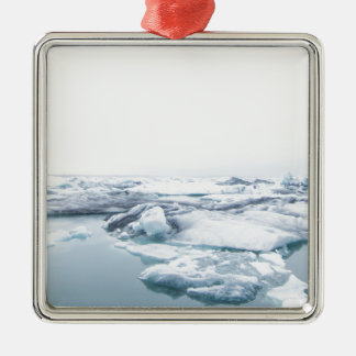 Iceland Glaciers - White Metal Ornament