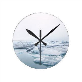 Iceland Glaciers - White Round Clock