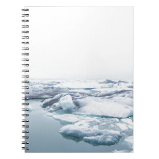 Iceland Glaciers - White Spiral Notebook