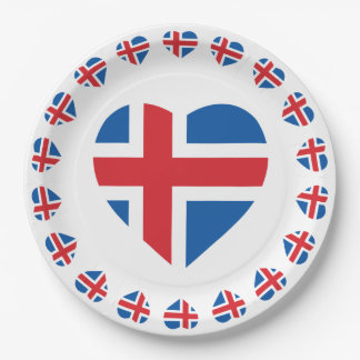 ICELAND HEART SHAPE FLAG PAPER PLATE