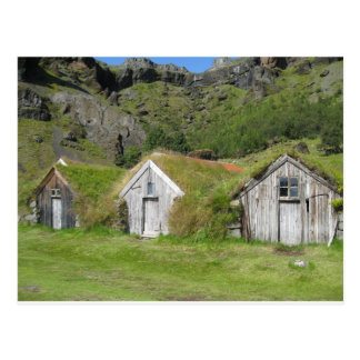 Iceland houses with grass roof postcard