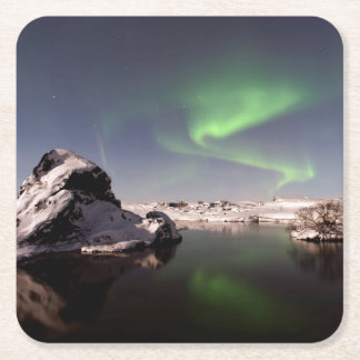 Iceland in Winter Square Paper Coaster