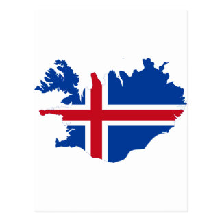 Iceland IS Ísland Flag map Postcard