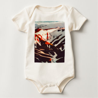 iceland landscape mountains snow baby bodysuit