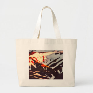 iceland landscape mountains snow large tote bag
