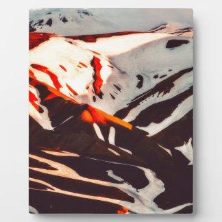 iceland landscape mountains snow plaque