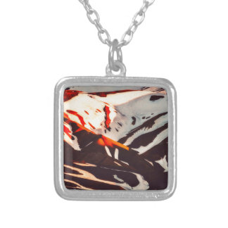 iceland landscape mountains snow silver plated necklace