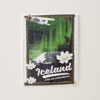 Iceland landscape vintage style travel poster jigsaw puzzle