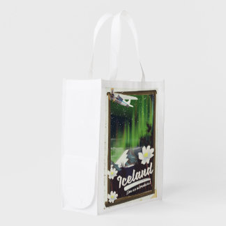 Iceland landscape vintage style travel poster reusable grocery bag