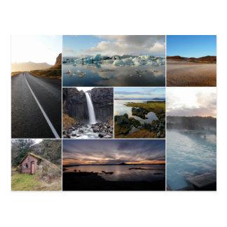 Iceland landscapes collage postcard