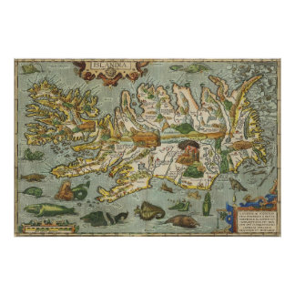 Iceland Map 1590 Poster