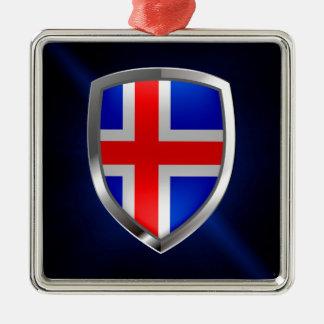 Iceland Metallic Emblem Metal Ornament