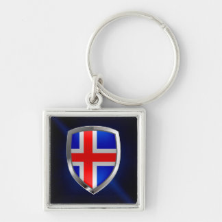 Iceland Metallic Emblem Silver-Colored Square Keychain