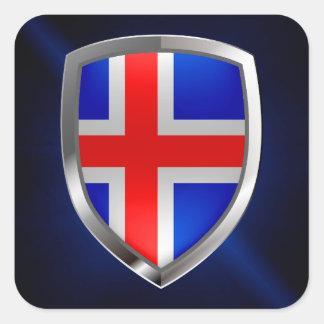 Iceland Metallic Emblem Square Sticker