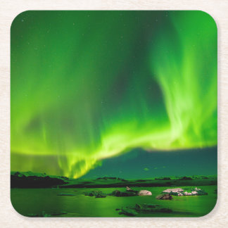 Iceland Northern Lights Square Paper Coaster