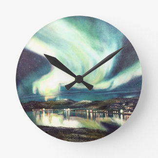 Iceland Northern Lights Wall Clock