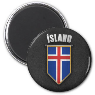 Iceland Pennant with high quality leather look 2 Inch Round Magnet