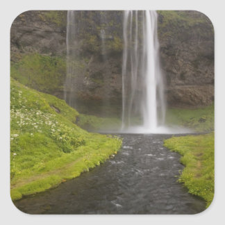 Iceland. People on trail behind Seljalandsfoss Square Sticker